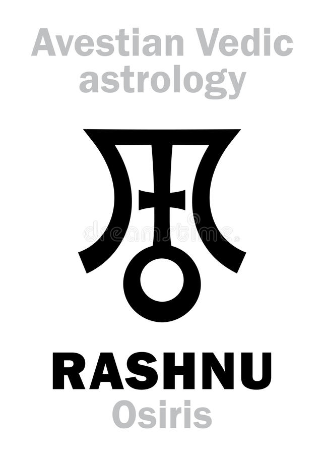 Astrology: astral planet RASHNU (Osiris). Astrology Alphabet: RASHNU (Osiris), Avestian vedic astral planet. Hieroglyphics character sign &# royalty free illustration