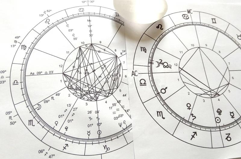 Astrology Chart Quartz Natural Stone Crystal Natal Chart Stock Photo