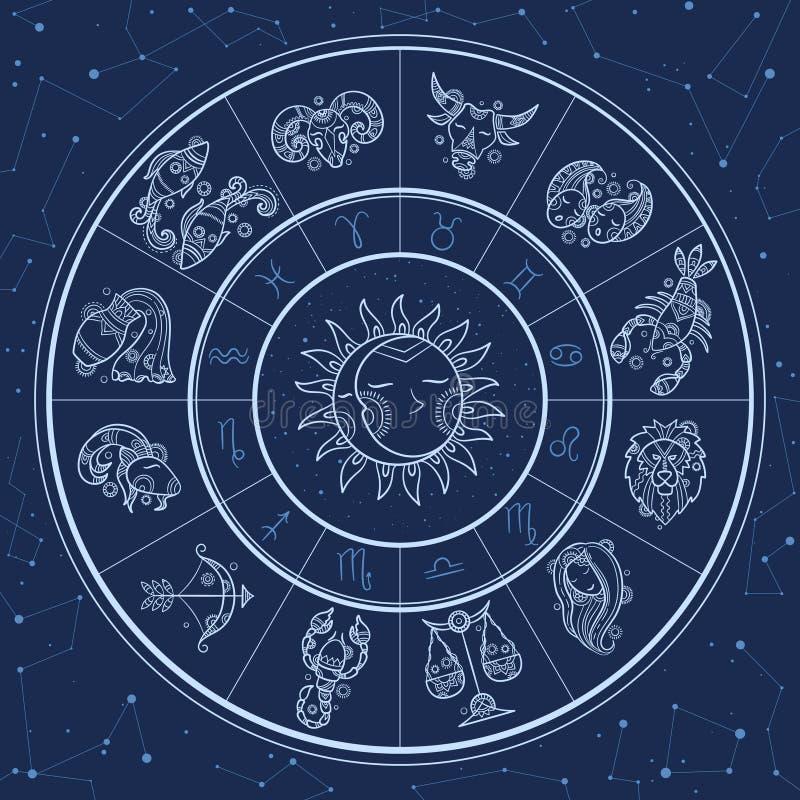 Astrology circle. Magic infographic with zodiac symbols gemini horoscopes wheel fish gemini aries lion vector template. Horoscope and zodiac, aquarius and stock illustration