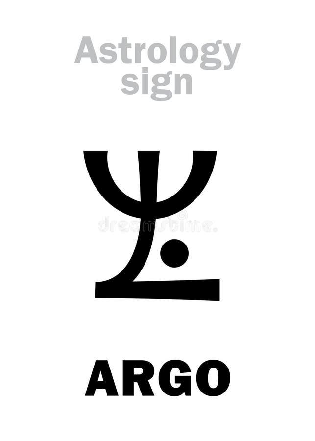 Astrology: constellation ARGO (Argo Navis). Astrology Alphabet: ARGO (Argo Navis), constellation. Hieroglyphics character sign (single stock illustration