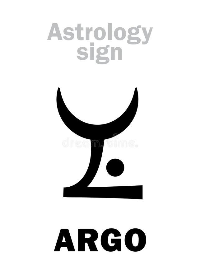 Astrology: constellation ARGO (Argo Navis). Astrology Alphabet: ARGO (Argo Navis), constellation. Hieroglyphics character sign (single vector illustration