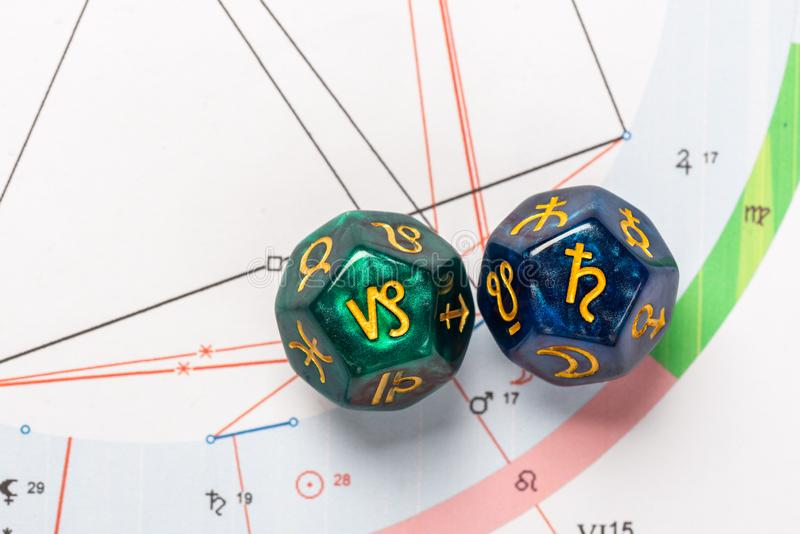 Astrology Dice with zodiac symbol of Capricorn Dec 22 - Jan 19 and its ruling planet Saturn. On Natal Chart Background royalty free stock images