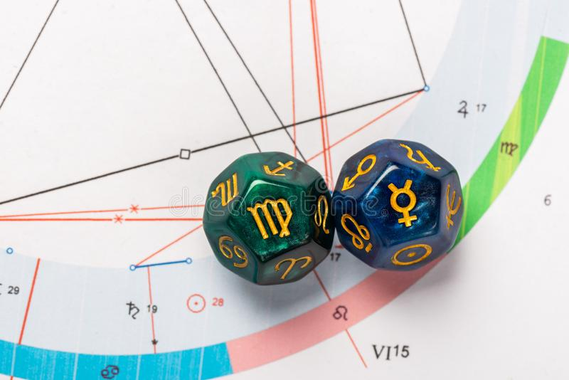 Astrology Dice with zodiac symbol of Virgo Aug 23 - Sep 22 and its ruling planet Mercury. On Natal Chart Background stock images