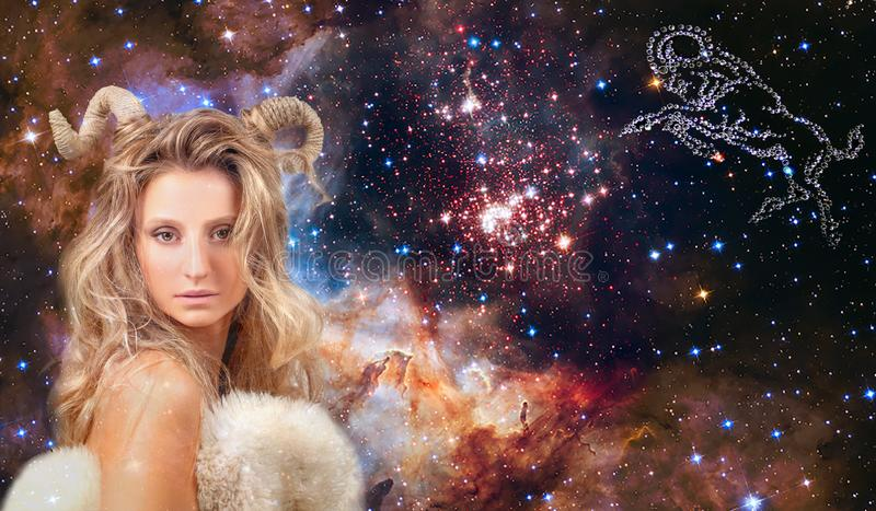 Astrology and horoscope. Aries Zodiac Sign, beautiful woman Aries on the galaxy background royalty free stock image