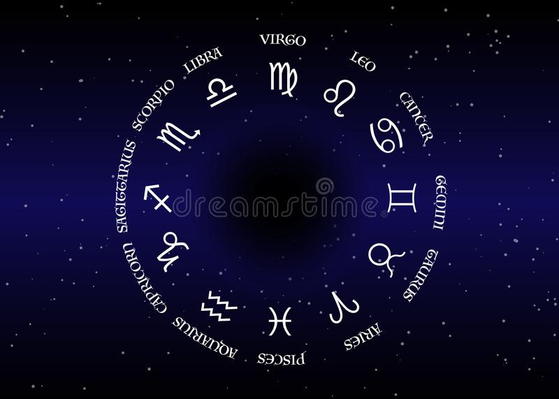 Astrology and horoscope - signs of zodiac over night sky and stars dark night sky background , illustration royalty free illustration