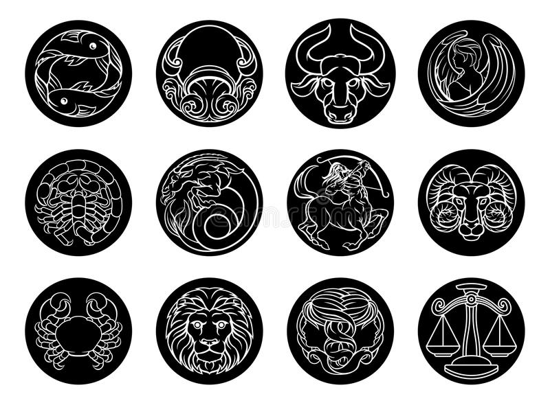 Astrology horoscope zodiac star signs icon set royalty free illustration