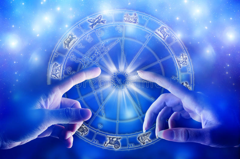 Astrology and love. Man and woman in romantic touch over astrological horoscope and starry universe like a concept of finding love with help of astrology