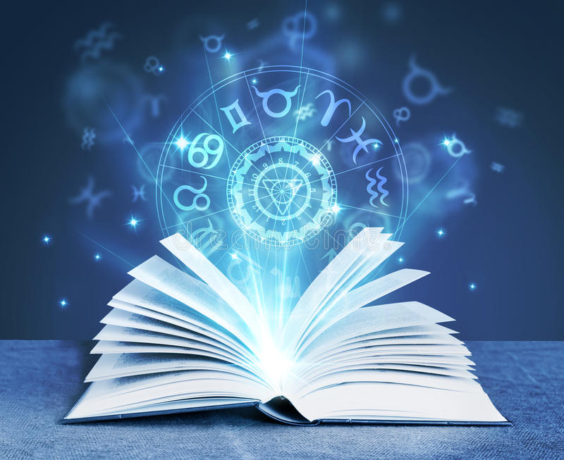 Astrology magic book. Witchcraft concept royalty free stock photos