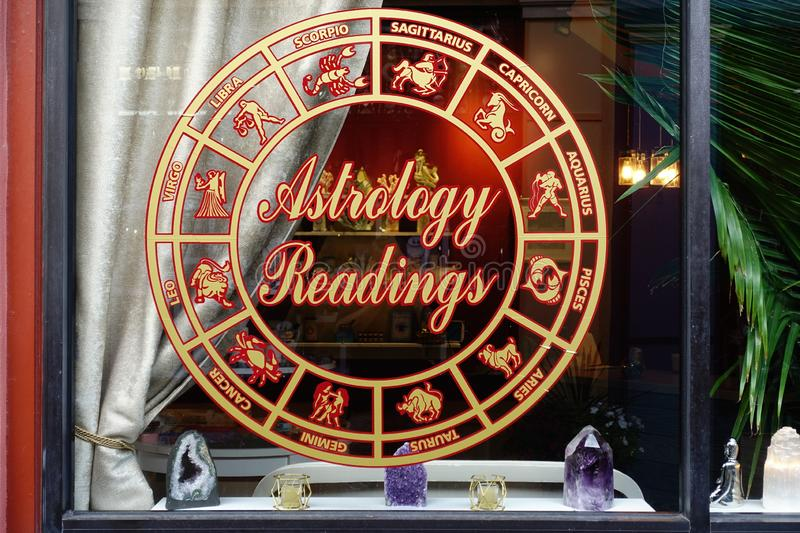 Astrology Readings Zodiac Signs in Window royalty free stock photography