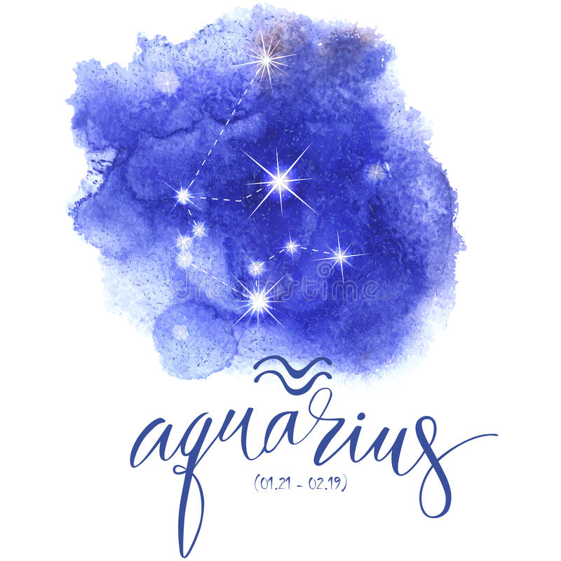 Astrology sign Capricorn. On blue watercolor background with modern lettering. Zodiac constellation with shiny star shapes. Part of zodiacal system and ancient stock illustration