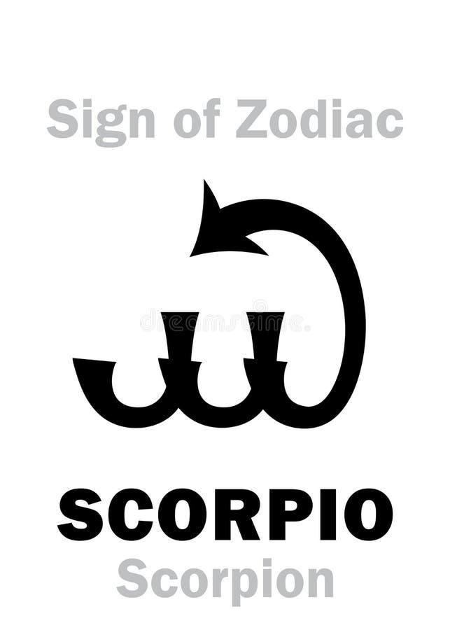 Astrology: Sign of Zodiac SCORPIO (The Scorpion). Astrology Alphabet: Sign of Zodiac SCORPIO (The Scorpion). Hieroglyphics character sign &# stock illustration
