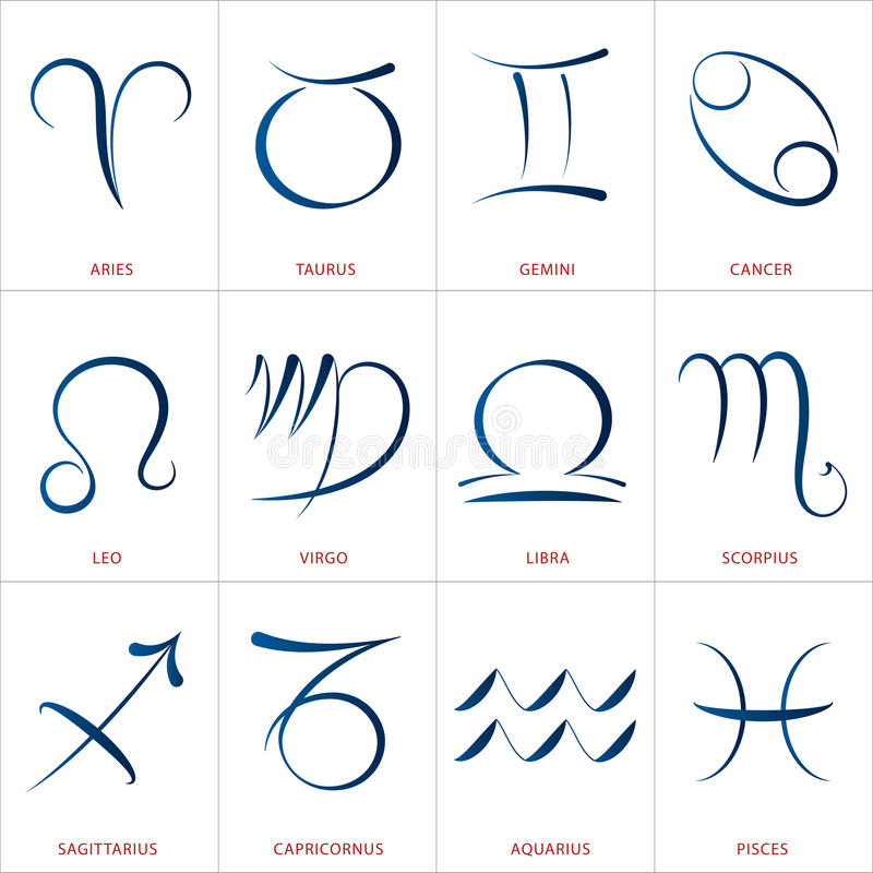 Astrology signs calligraphy stock vector image