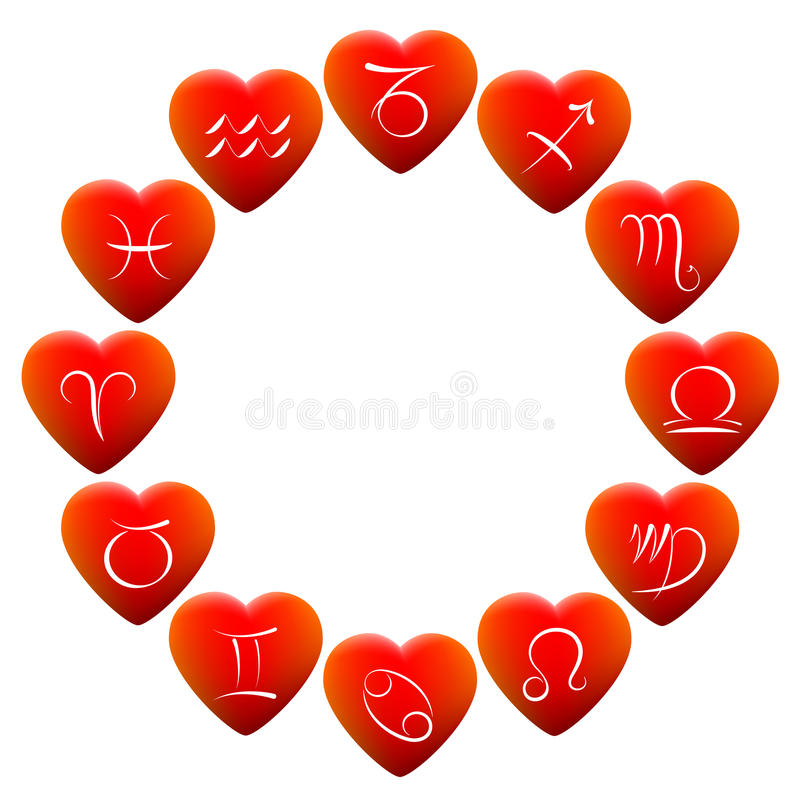 Astrology Signs Hearts vector illustration