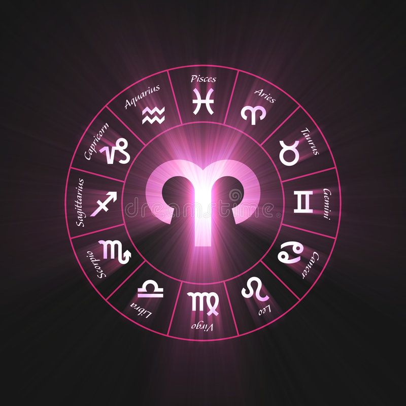 Astrology symbol Aries light flare royalty free illustration