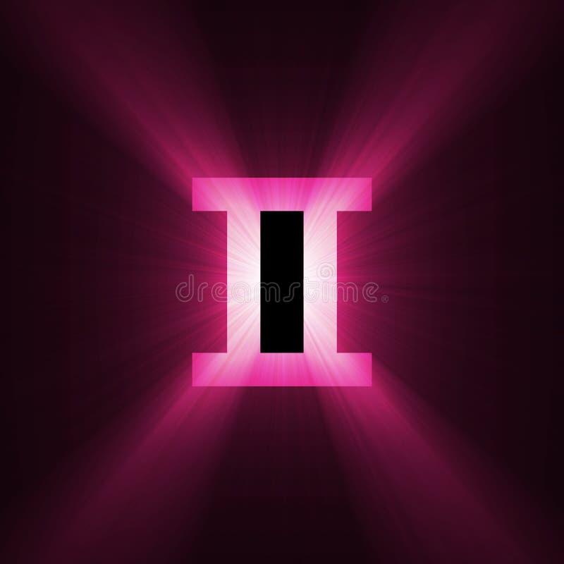 Astrology symbol Gemini light flare stock illustration
