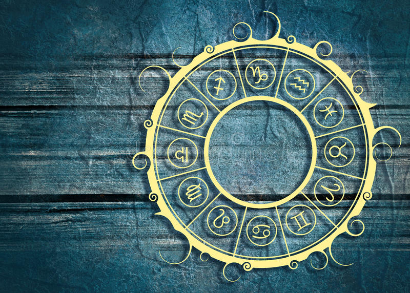 Astrology symbols in circle. Astrological symbols in the circle. Concrete wall textured royalty free stock photography