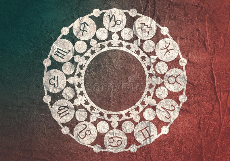 Astrology symbols in circle. Astrological symbols in the circle. Decorative ornanet royalty free stock images