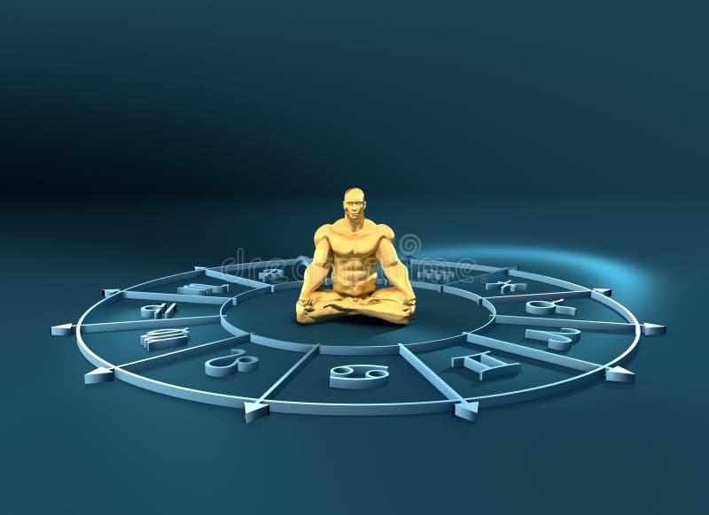 Astrology symbols circle. Muscular man in center. Golden astrological symbols in the circle. Muscular man in lotus position. 3D rendering. Metallic figure vector illustration
