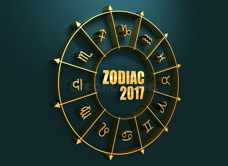 Astrology symbols in golden circle. Astrological symbols in the circle. Golden emblem. Metallic material. Zodiac text and 2017 numbers. 3d rendering royalty free stock photos