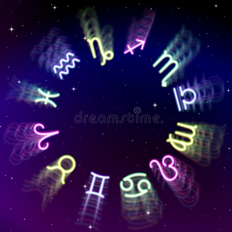 Astrology zodiac signs wheel with twelve colorful symbols in space. Full astrologic year. Astrology zodiac signs wheel with twelve colorful blurred symbols in stock illustration