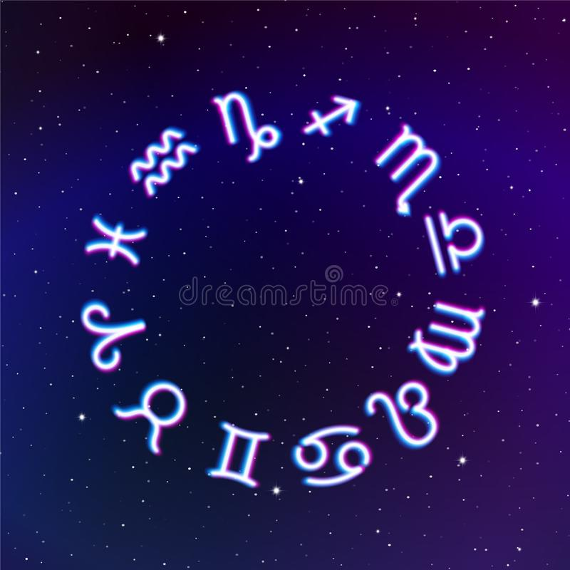 Astrology Zodiac signs wheel with twelve neon symbols in space. Full astrologic year for New Years prognosis stock illustration