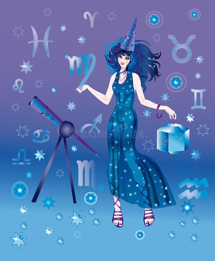 Astroloog met teken van dierenriem van het karakter van de Maagd vector illustratie
