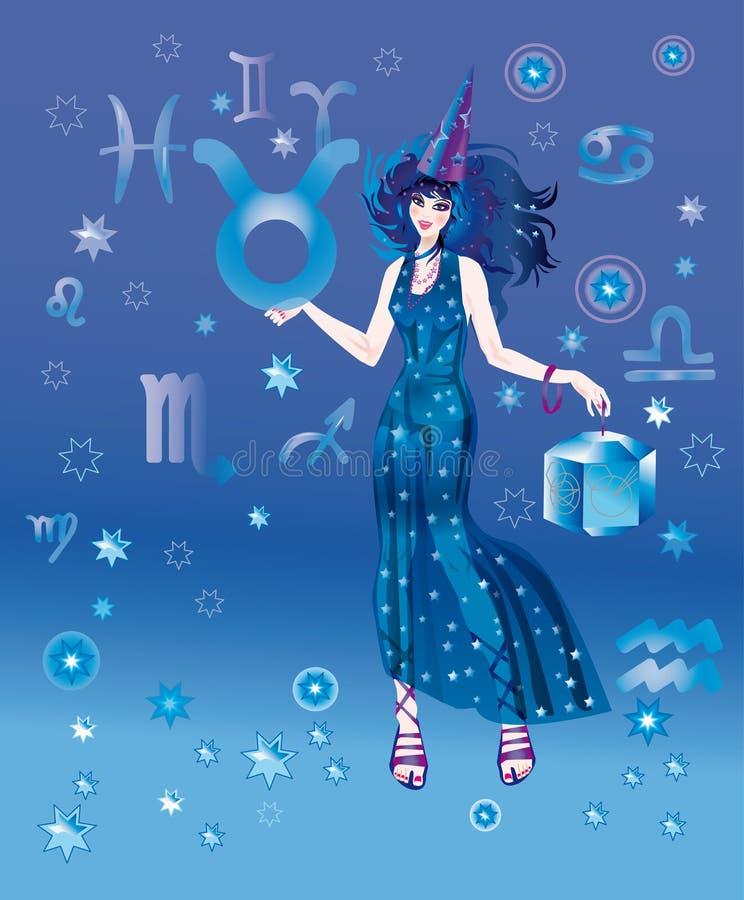 Astroloog met teken van dierenriem van het karakter van de Stier royalty-vrije illustratie