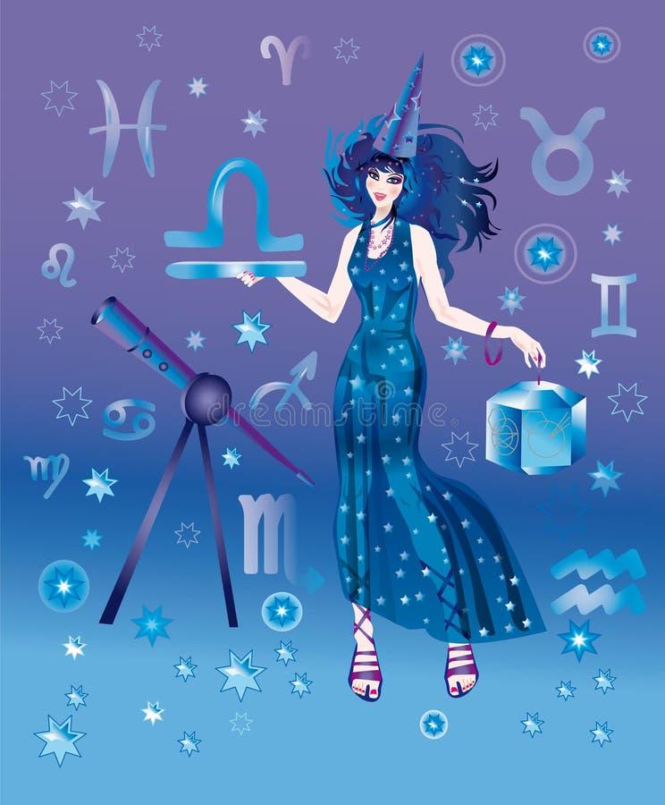 Astroloog met teken van dierenriem van het karakter van de Weegschaal vector illustratie