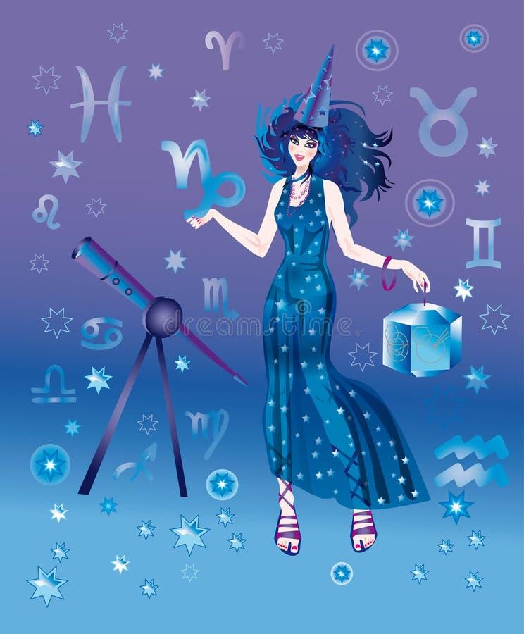 Astroloog met teken van dierenriem van Steenbok royalty-vrije illustratie
