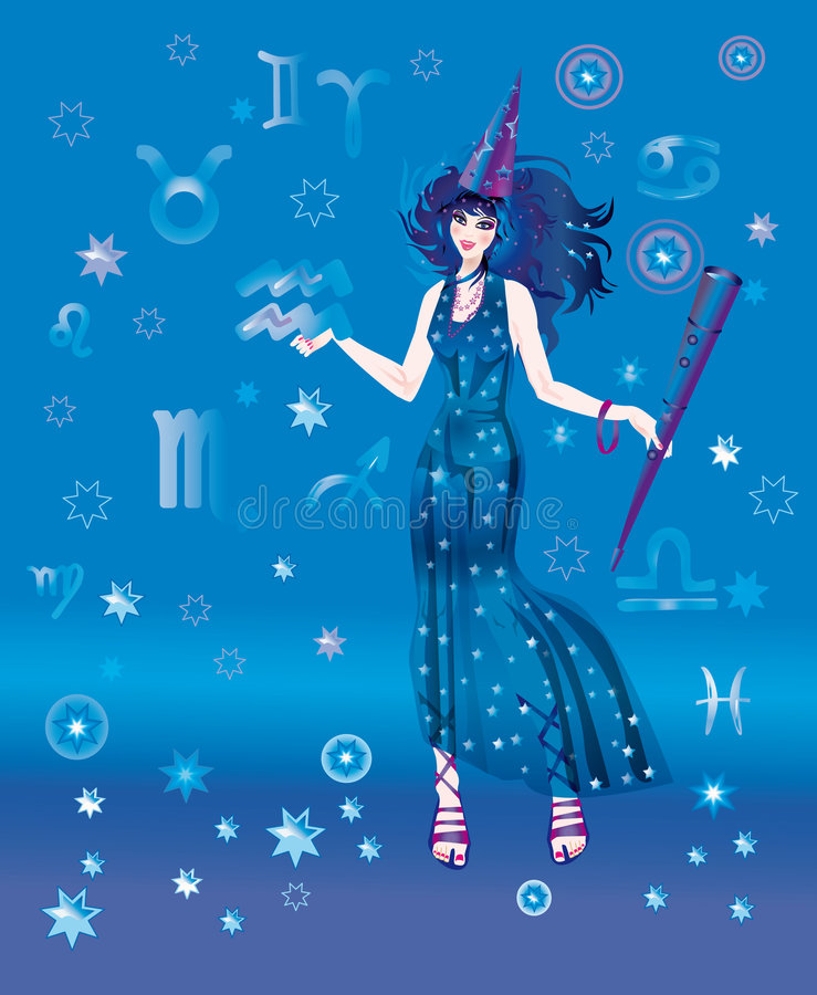 Astroloog met teken van dierenriem van Waterbearer vector illustratie