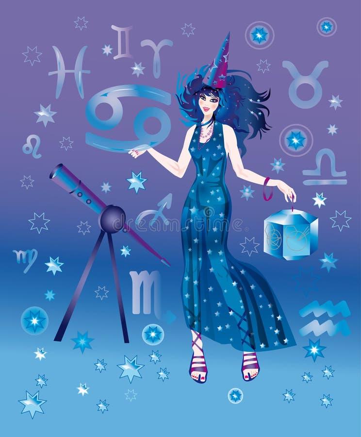 Astroloog met teken van Kanker van het dierenriemkarakter royalty-vrije illustratie