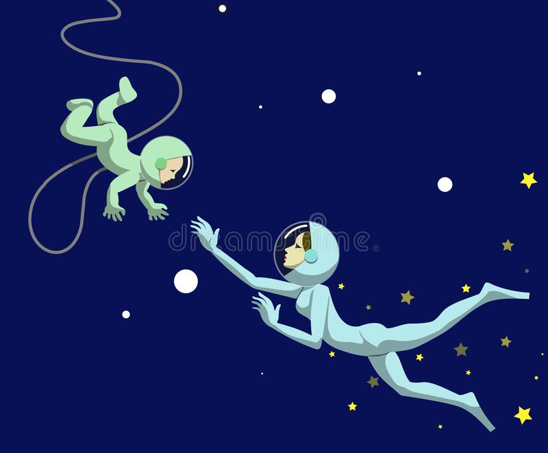 Astromather. Mom and child in the space suits fly towards each other. Vector illustration stock illustration
