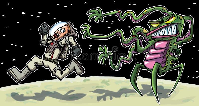 Astronaout de dessin animé fonctionnant d'un étranger illustration stock