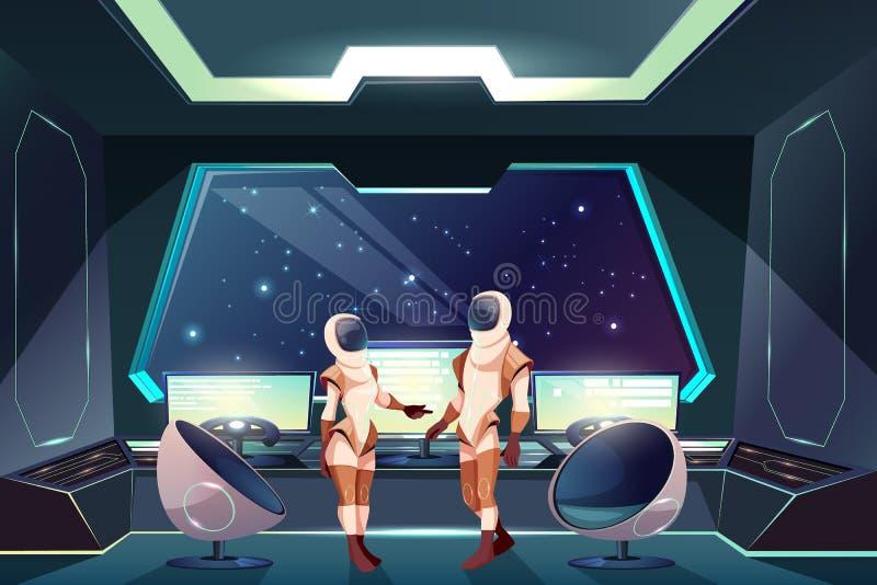 Astronauci w spacesuits na statku kosmicznego wektorze royalty ilustracja