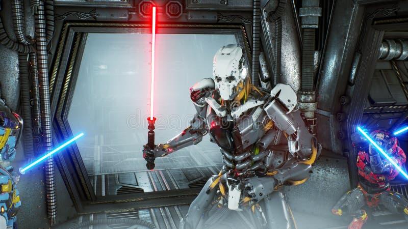 Astronauci z laserowymi kordzikami chowali w przyczajeniu na obcej robot najeźdźcie na jego statku kosmicznym Super realistyczny  ilustracja wektor