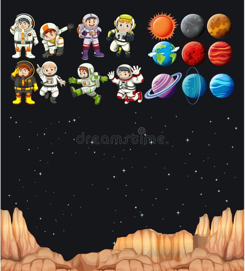 Astronaunts et différentes planètes en univers illustration stock