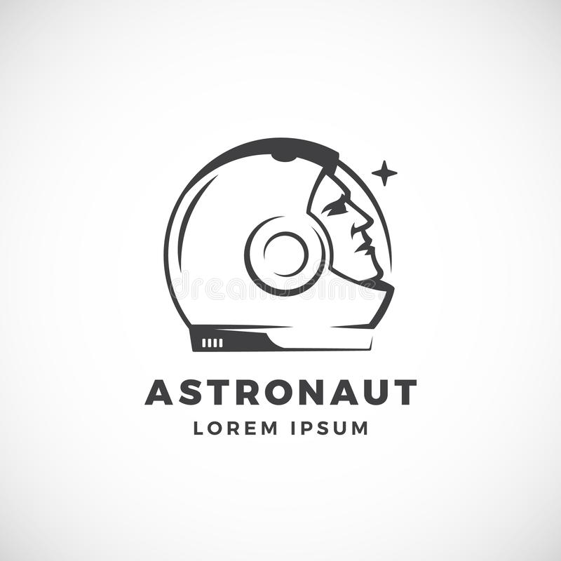 Astronaut Abstract Vector Sign, Emblem, Icon Or Logo Template. Face ...