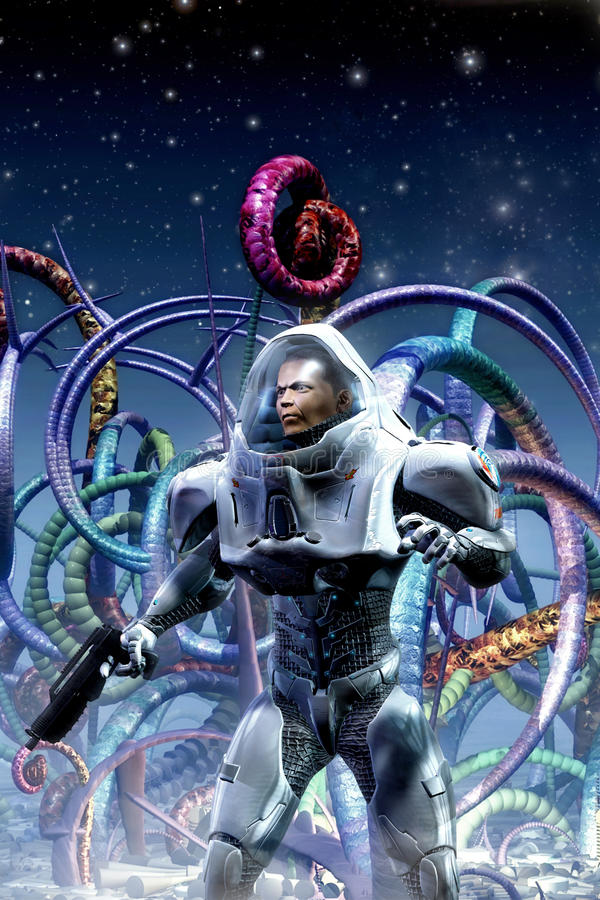 Astronaut Adventurer And Alien Planet Stock Illustration