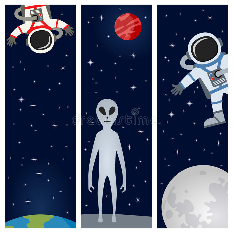 Astronaut & Alien Vertical Banners. A collection of three vertical banners with the Earth, the Moon, an alien and astronauts or spacemen floating on a dark blue royalty free illustration