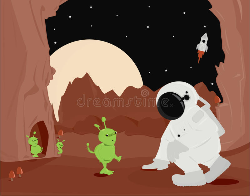 Astronaut And Aliens On Planet Surface Royalty Free Stock Image