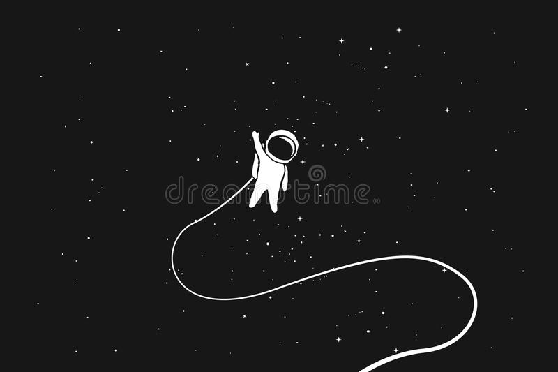 Astronaut alone in outer space royalty free illustration