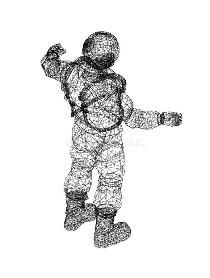Astronaut Architect Blueprint - isolated stock illustration