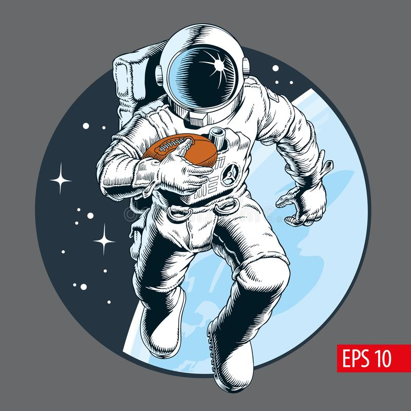 Astronaut athlete playing american football in space. Vector illustration stock illustration