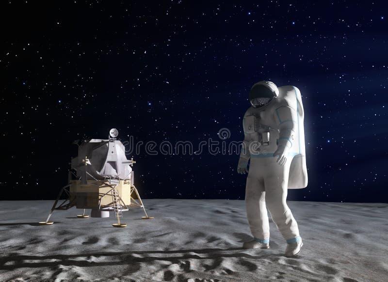 Astronaut auf dem Mond lizenzfreie abbildung