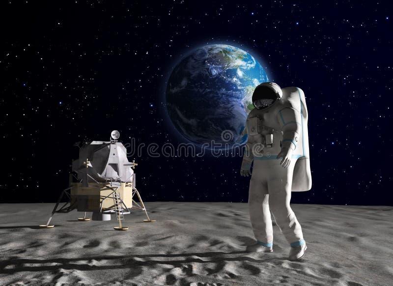 Astronaut auf dem Mond stock abbildung