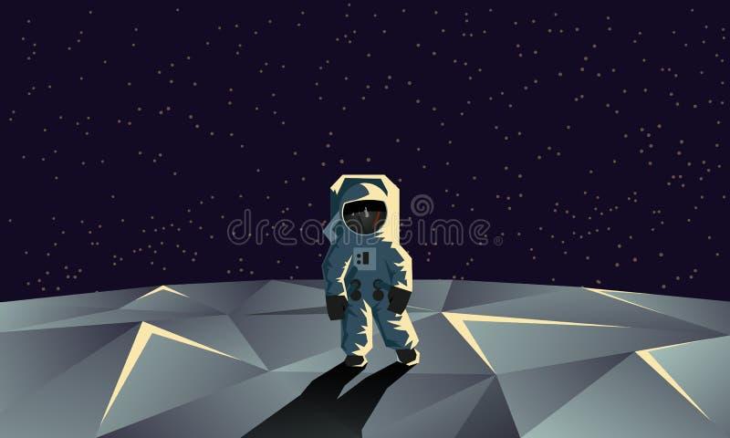 Astronaut auf der polygonalen Mondoberfläche Flache geometrische Illustration lizenzfreies stockfoto