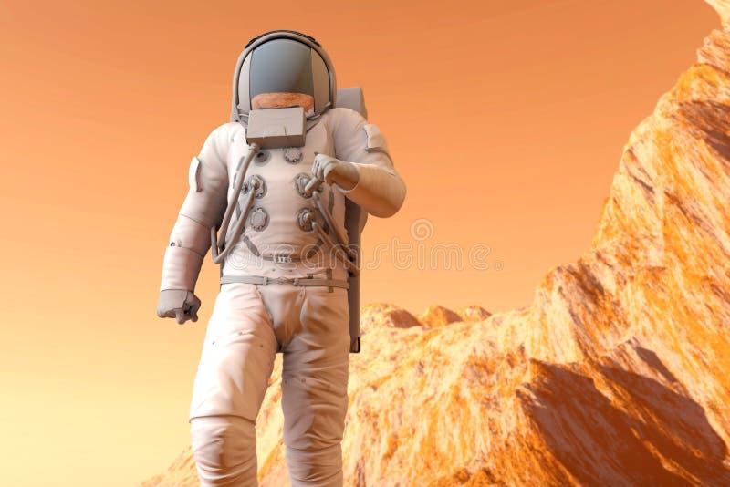 Astronaut auf Mars stock abbildung