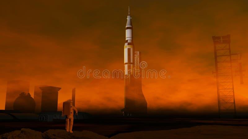 Astronaut aufgrund von Mars Besiedlung, Raumbasis lizenzfreie abbildung