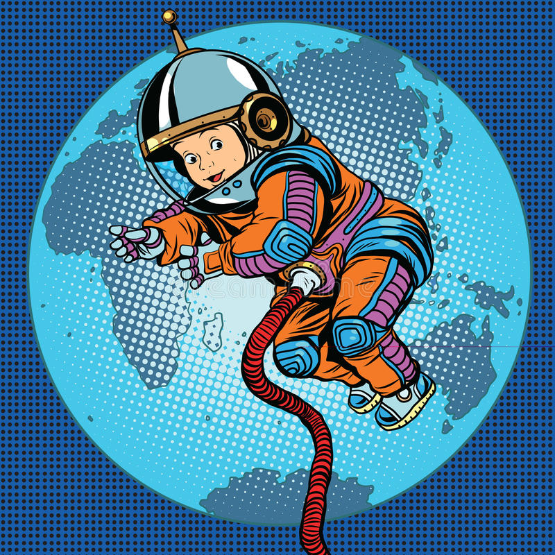Astronaut baby Earth space vector illustration