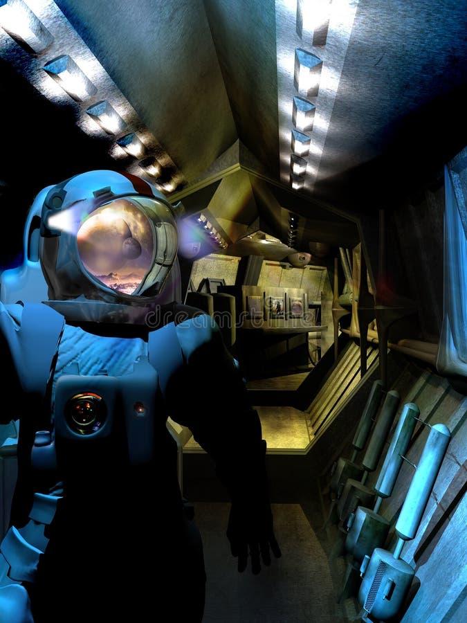 Astronaut bij ruimteschipdeur vector illustratie